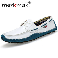 Merkmak Italian Genuine Leather Man Loafers Designer Slip On Driving Shoes Men High Quality Luxury Brand Soft Flats Large Size - Goodies Online Store