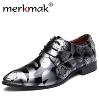 Merkmak Big Size 37-48 New Fashion Men Dress Wedding Shoes Red Gold Shoes Round Toe Flats Business Leather British Lace-upShoes - Goodies Online Store