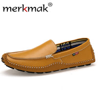 Merkmak Big Size 38~47 Genuine Leather Men Loafers Top quality Comfortable Handsome Men Shoes Luxury Brand Mens Flats Shoes - Goodies Online Store