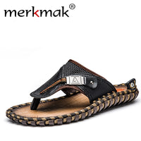 Merkmak Luxury Brand 2017 New Men's Flip Flops Genuine Leather Slippers Summer Fashion Beach Sandals Shoes For Men Big Size 45 - Goodies Online Store