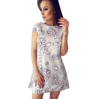 Summer Floral Printed Dress 2017 Women Ladies Short Sleeves Dress Short Elegent Simplicity Straight Dresses vestido curto lisos - Goodies Online Store