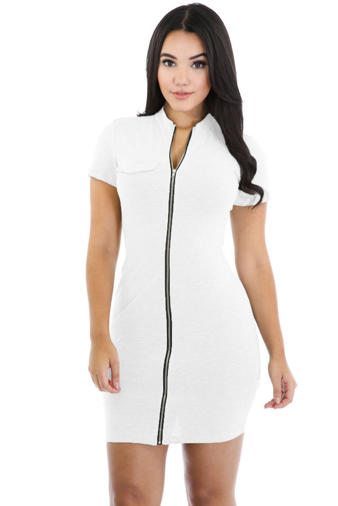 White Funky Zip or Not Dress - Goodies Online Store