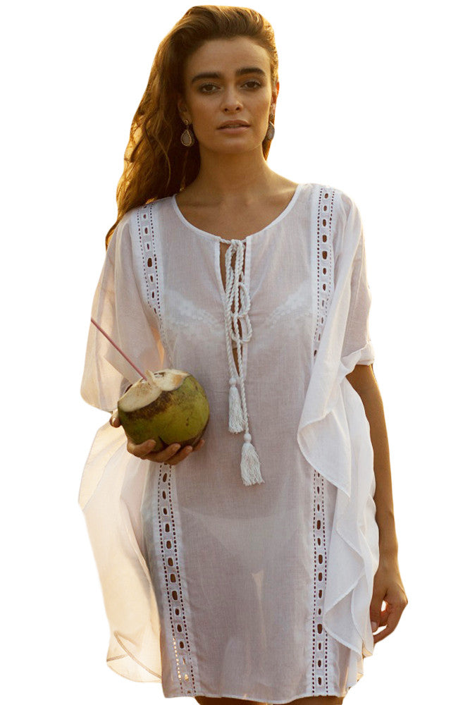 Sheer White Flyaway Kaftan Beach Cover Up - Goodies Online Store