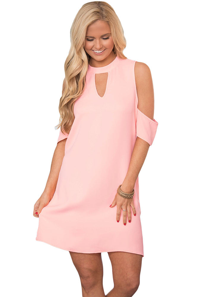 Pink Artful Keyhole and Cold Shoulder Dress - Goodies Online Store