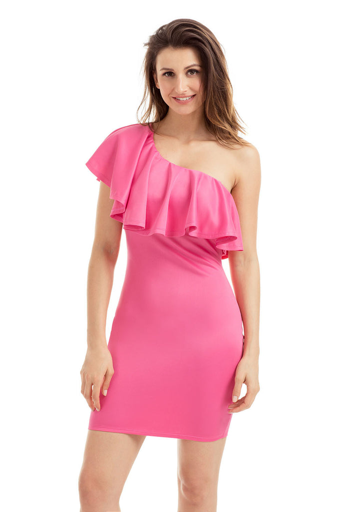 Pink One Shoulder Party Cocktail Mini Dress - Goodies Online Store