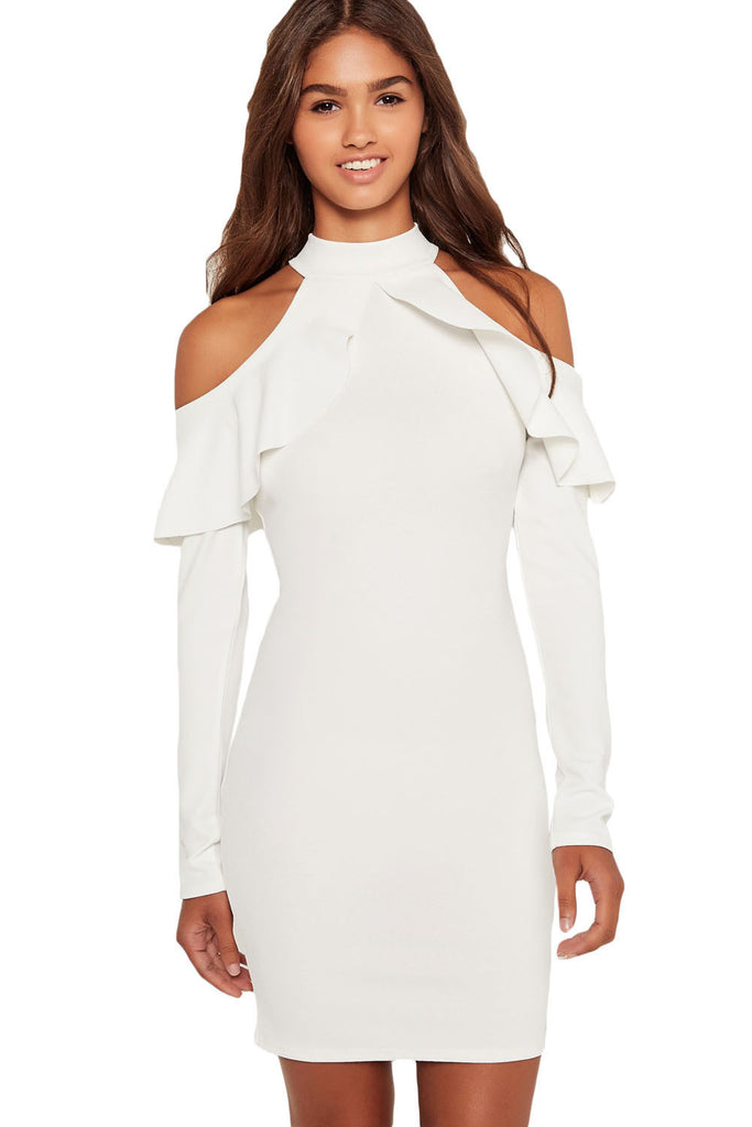 White Frill Cold Shoulder Long Sleeve Dress - Goodies Online Store