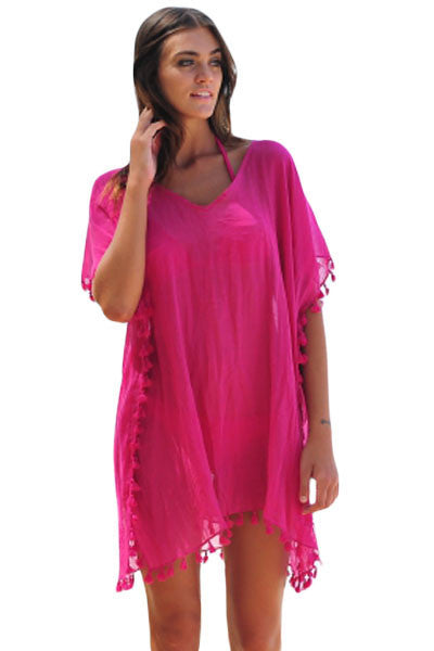 Rosy Pom Pom Tassel Hem Gauze Cover up - Goodies Online Store