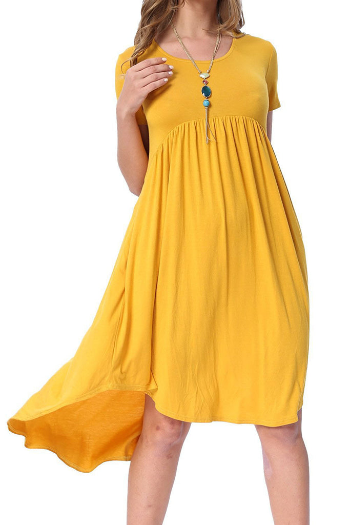 Yellow Short Sleeve High Low Pleated Casual Swing Dress - Goodies Online Store