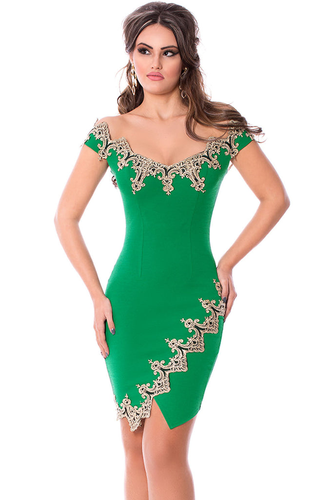 Gold Lace Applique Green Off Shoulder Mini Dress - Goodies Online Store