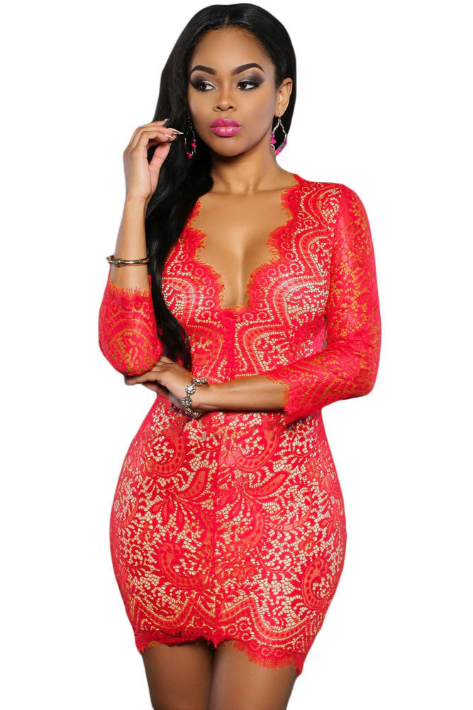 Red Lace Nude Mini Dress - Goodies Online Store