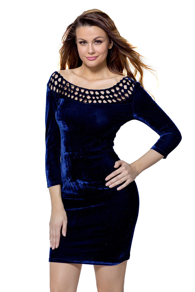 Navy Hollow Out Round Neck Sleeved Velvet Dress - Goodies Online Store