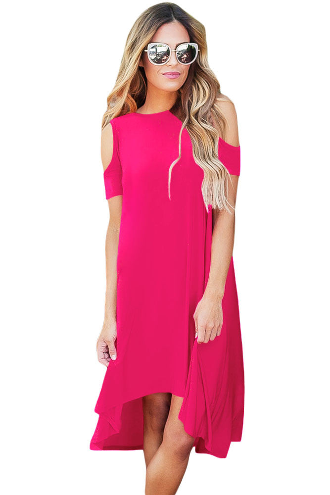 Rosy Cold Shoulder Short Sleeve High Low Dress - Goodies Online Store