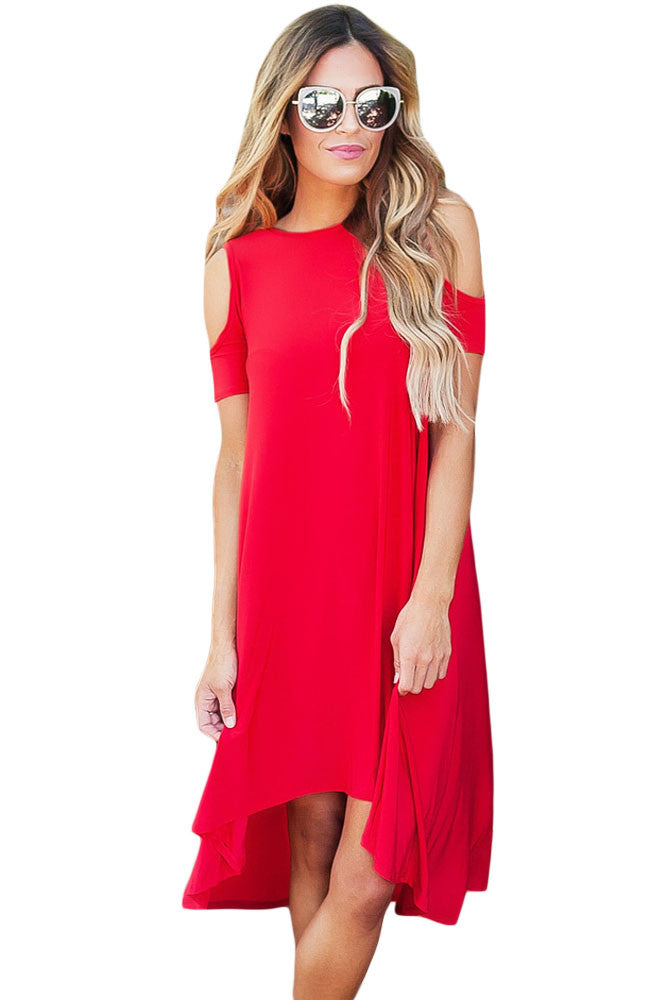 Red Cold Shoulder Short Sleeve High Low Dress - Goodies Online Store