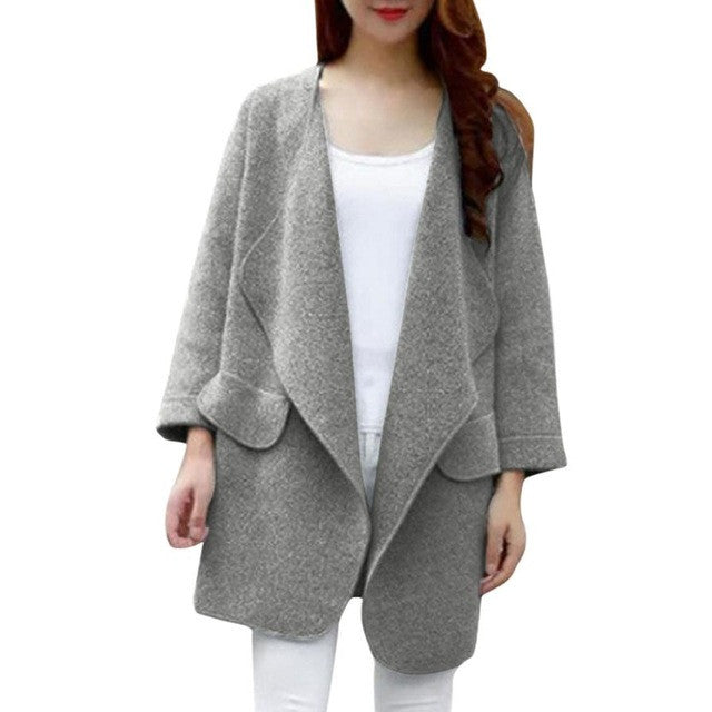Warm Winter Women Coat Long Sleeve Knitted Wool Cardigan Solid Large Turn-down Collor Long Sweater Outwear casaco feminino - Goodies Online Store