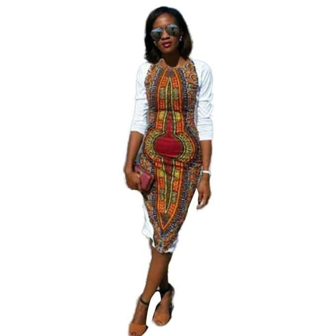 New Fashion Autumn Bodycon Dress Large Size Women Casual O-Neck Knee-Length Traditional African Print White Party Dresses - Goodies Online Store