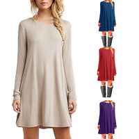 Vintage Autumn Dress Women Sexy Thin Casual O-Neck Clothing Solid Simple Long Sleeves  A-line Dress Vestidos Loose - Goodies Online Store