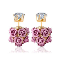 New  Fashion Flower Rose Women Girls Crystal Stud Earrings Gift BK - Goodies Online Store