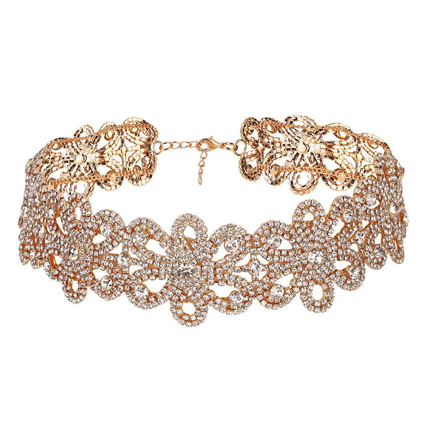 Women Punk Style Alloy Crystal Rhinestone Golden Chain Necklace Choker - Goodies Online Store