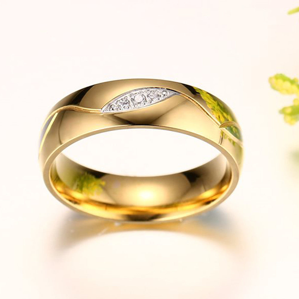 Rings Couple For Women Men Engagement Ring Gold Color Titanium Steel Jewelry A10 - Goodies Online Store