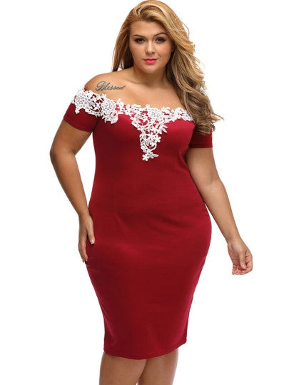 Plus Size Slash Neck Floral Backless Women's Bodycon Dress - Goodies Online Store