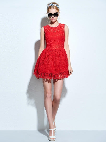 Sleeveless Women's Lace Flare Dress (Plus Size Available) - Goodies Online Store