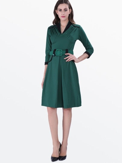 Green 3/4 Sleeve Ruffle Women's Rockabilly Dress - Goodies Online Store