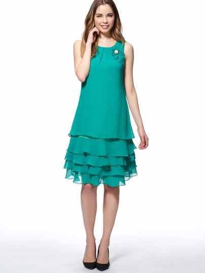 Green Round Neck Sleeveless Women's Layered Dress - Goodies Online Store