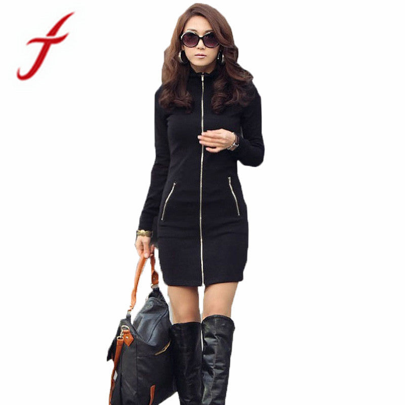 New Women One Piece Black Slim Zipper Up Long Sleeve Bodycon Mini Dress Free shipping&Wholesales Jecksion #LN - Goodies Online Store