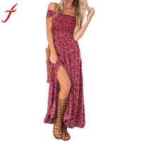 JECKSION 2016  Newest  sundress summer Fashionable  Women Sexy Long Beach Dress Flower Print Bra Split Dress - Goodies Online Store