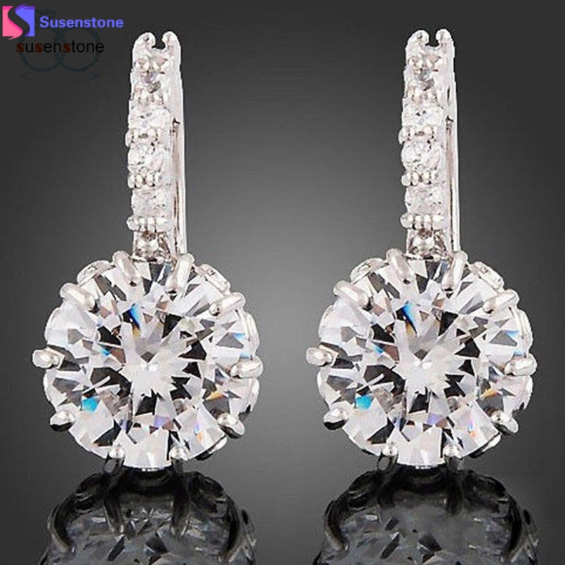 SUSENSTONE Prong Setting Rhinestone Austria Crystal Pendant Earring - Goodies Online Store