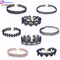 SUSENSTONE 8 Pieces Choker Necklace Set Stretch Velvet Classic Gothic Tattoo Lace Choker - Goodies Online Store