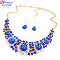 SUSENSTONE Women Fashion Crystal Necklace Jewelry Statement Bib Pendant Charm Chain Choker - Goodies Online Store