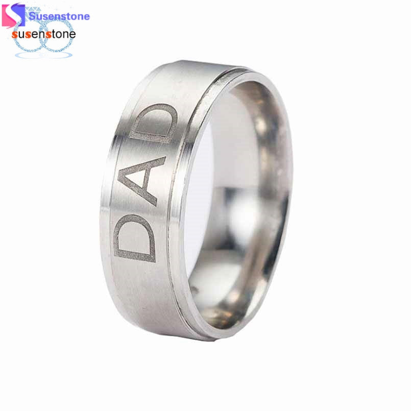 SUSENSTONE New Arrive Stainless Steel Dad Ring Engraved Love You Dad Men's Ring Jewelry - Goodies Online Store