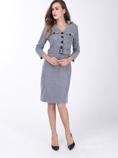 Plain Lapel Single-Breasted Long Sleeve Dress - Goodies Online Store