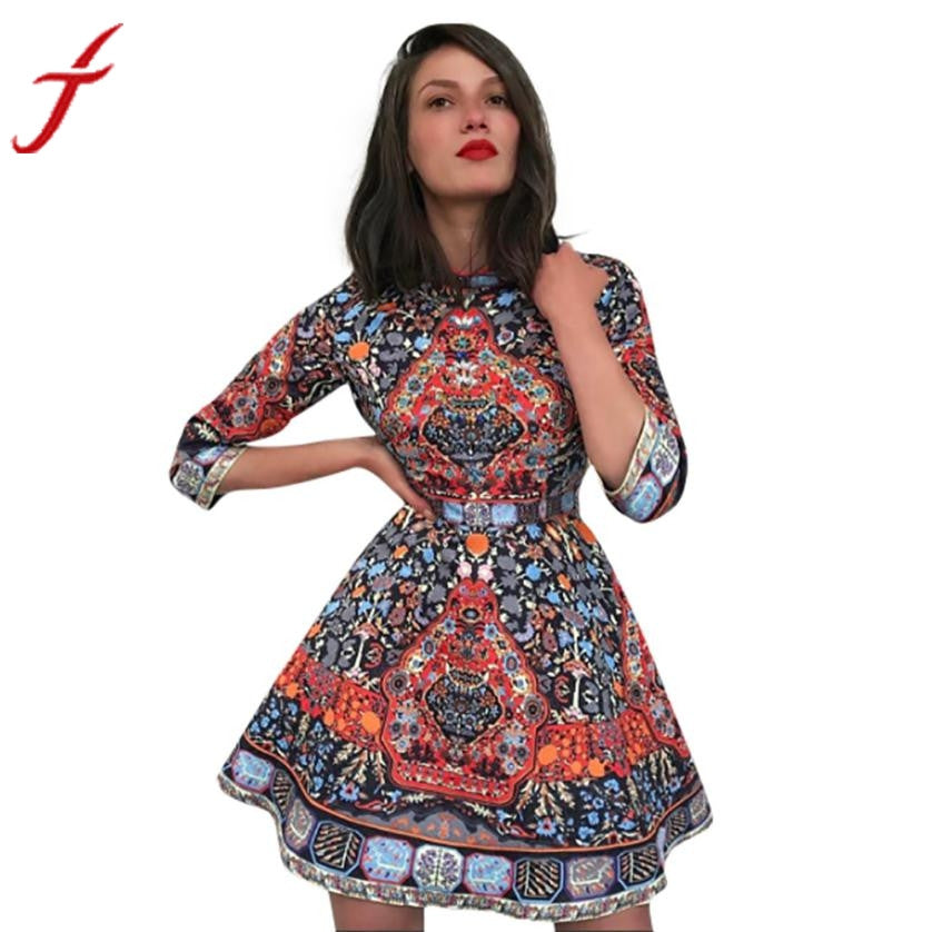 Vintage Women Dress Three Quarter Sleeve Stand Neckline National Wind Print Evening Party Slim Dress vestidos de festa - Goodies Online Store