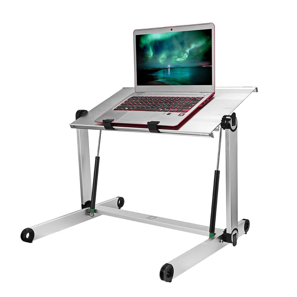 "Konesky Height Adjustable Aluminum Laptop Desk Portable Standing Table Foldable PC Stand for Office Home Sitting Standing(Panel Size: 20.8*11.4"") - Goodies Online Store"
