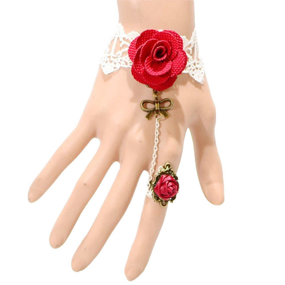 Gothic Style Hot Red Rose Sexy lace Bracelet - Goodies Online Store