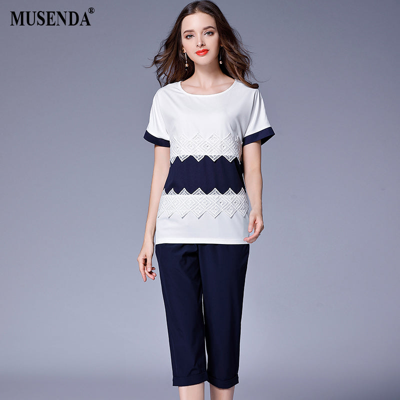 MUSENDA Plus Size Women Chiffon White Royal Blue Lace Patchwork Tops Elastic Waist Pants Summer Female Clothing Two Piece Sets - Goodies Online Store