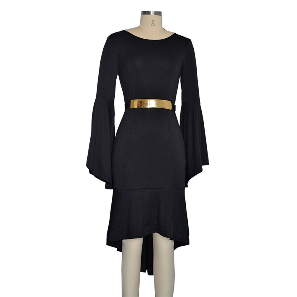 Women Bell Sleeve Trumpet Sleeves Irregular Office Dress With Back Zipper Belt - Goodies Online Store
