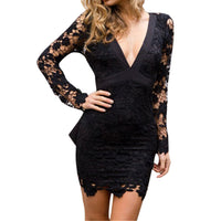 Womens Deep V Neck Backless Lace Bodycon Cocktail Ladies Party Mini Dress - Goodies Online Store