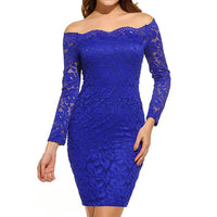 Women Vintage Off Shoulder Lace Evening Party Dress Long Sleeve Dress - Goodies Online Store
