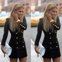 New Women Slim Long Sleeve Buttons Casual Bodycon Cocktail Mini Dress - Goodies Online Store