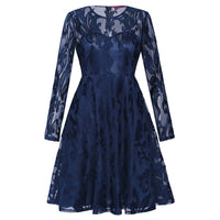 Women's Long Sleeve Lace Floral Ball Prom Evening Party Bridesmaid Wedding Dress - Goodies Online Store