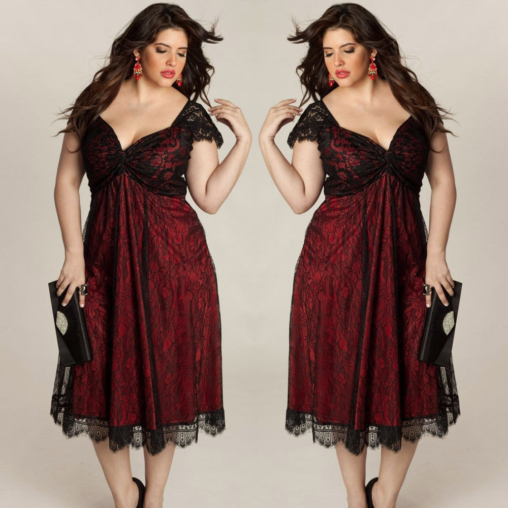 Plus Size Women Sleeveless Lace Long Evening Party Prom Gown Formal Dress - Goodies Online Store