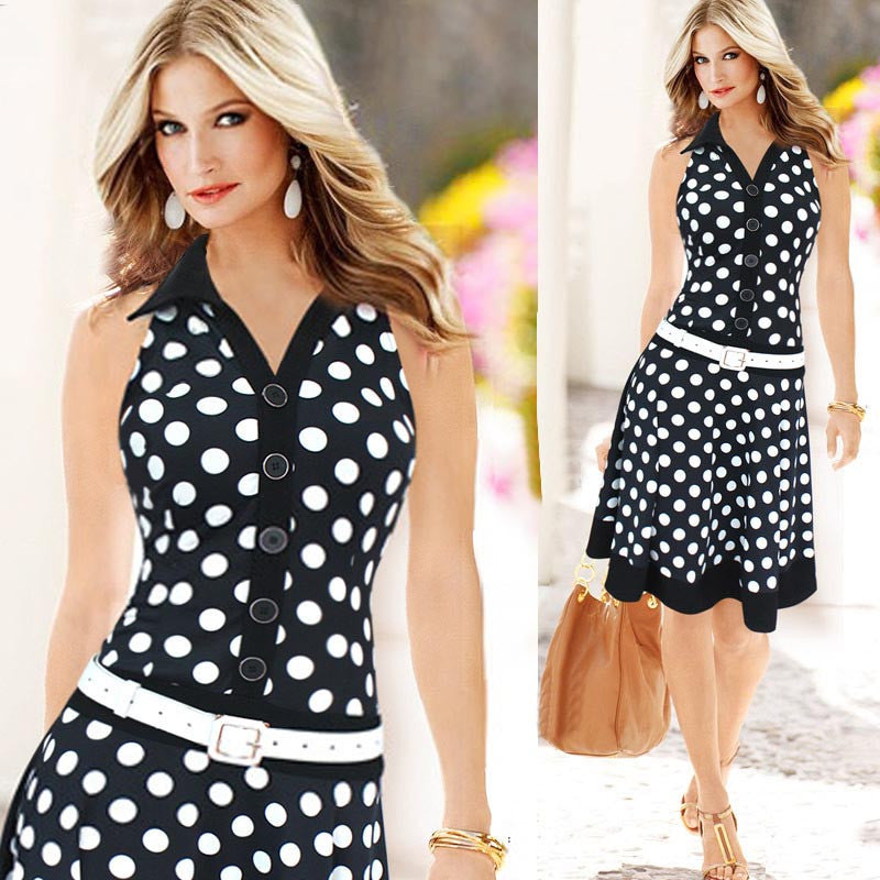 Women Fashion Polka Dot Sleeveless V-neck Print Dress One-piece Dresses - Goodies Online Store
