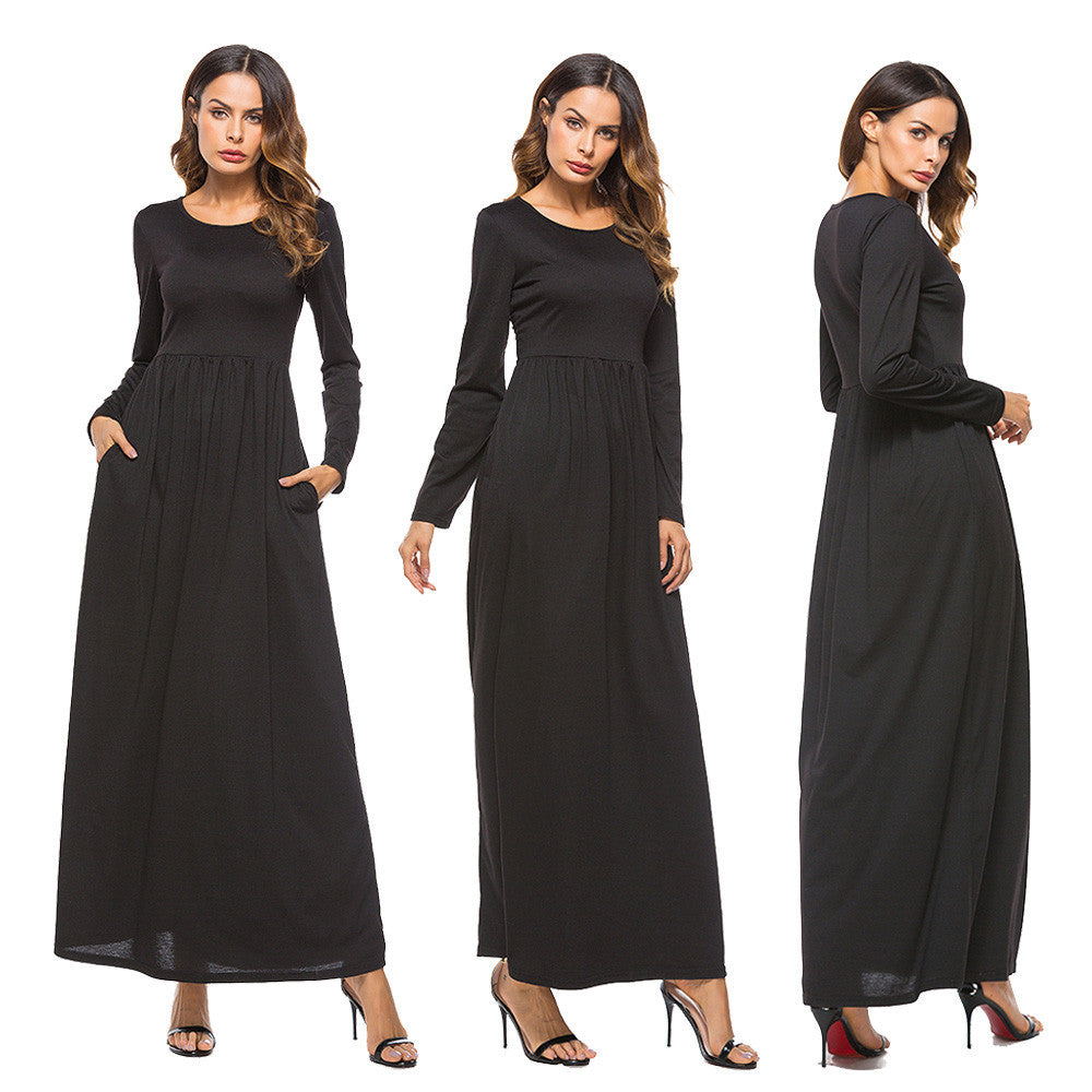Sexy Women Dress Pocket O Neck Long Sleeve Dress Evening Party Long Dress - Goodies Online Store