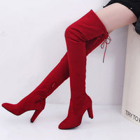 Women Stretch Faux Slim High Boots Over The Knee Boots High Heels Shoes - Goodies Online Store