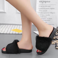 Womens Flat Non-slip Soft Fluffy Faux Fur Flat Slipper Flip Flop Sandal - Goodies Online Store