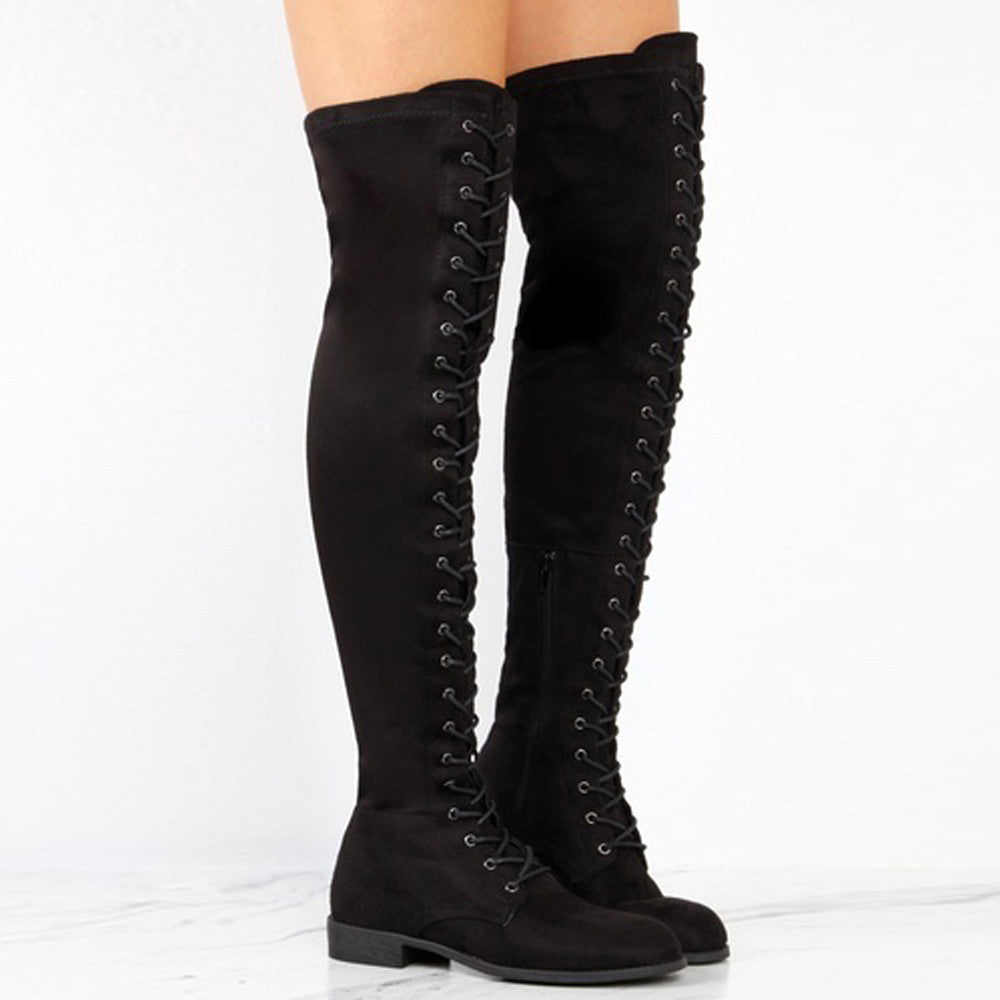 Women Cross-tied Platform Shoes High Boots Over The Knee Boots Flat Heel Boots - Goodies Online Store