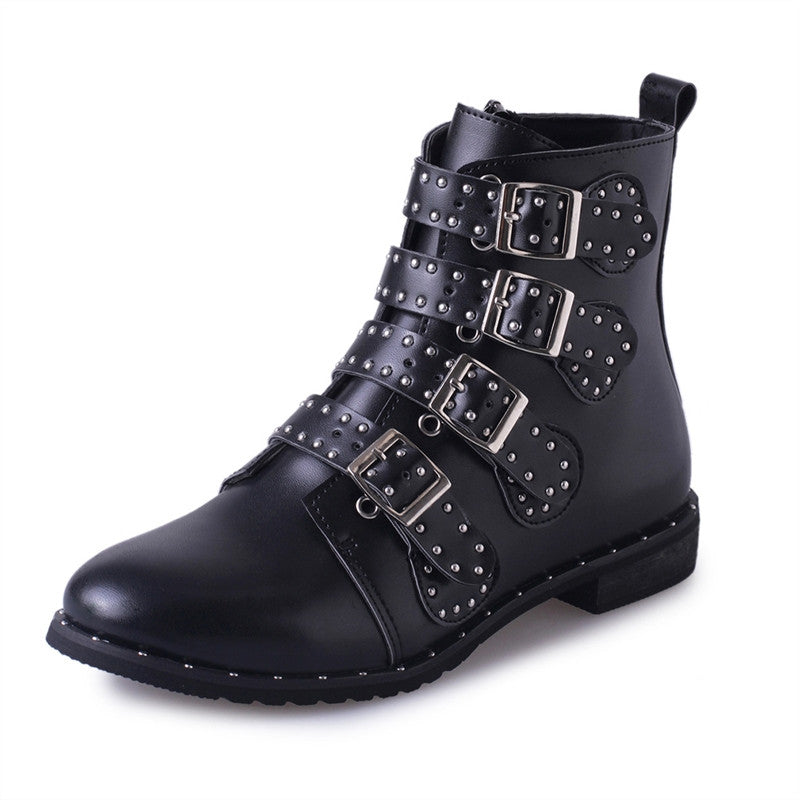 Women Leather Rivet Boots Buckle Fashion Martin Leather Ankle Booties Shoes - Goodies Online Store